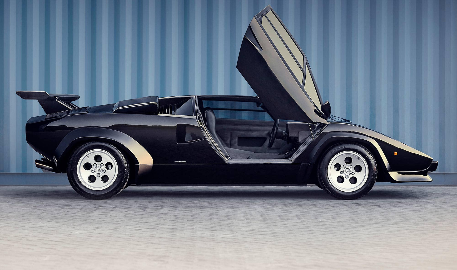 lamborghini countach sv black sports car photographed on location in johannesburg south africa