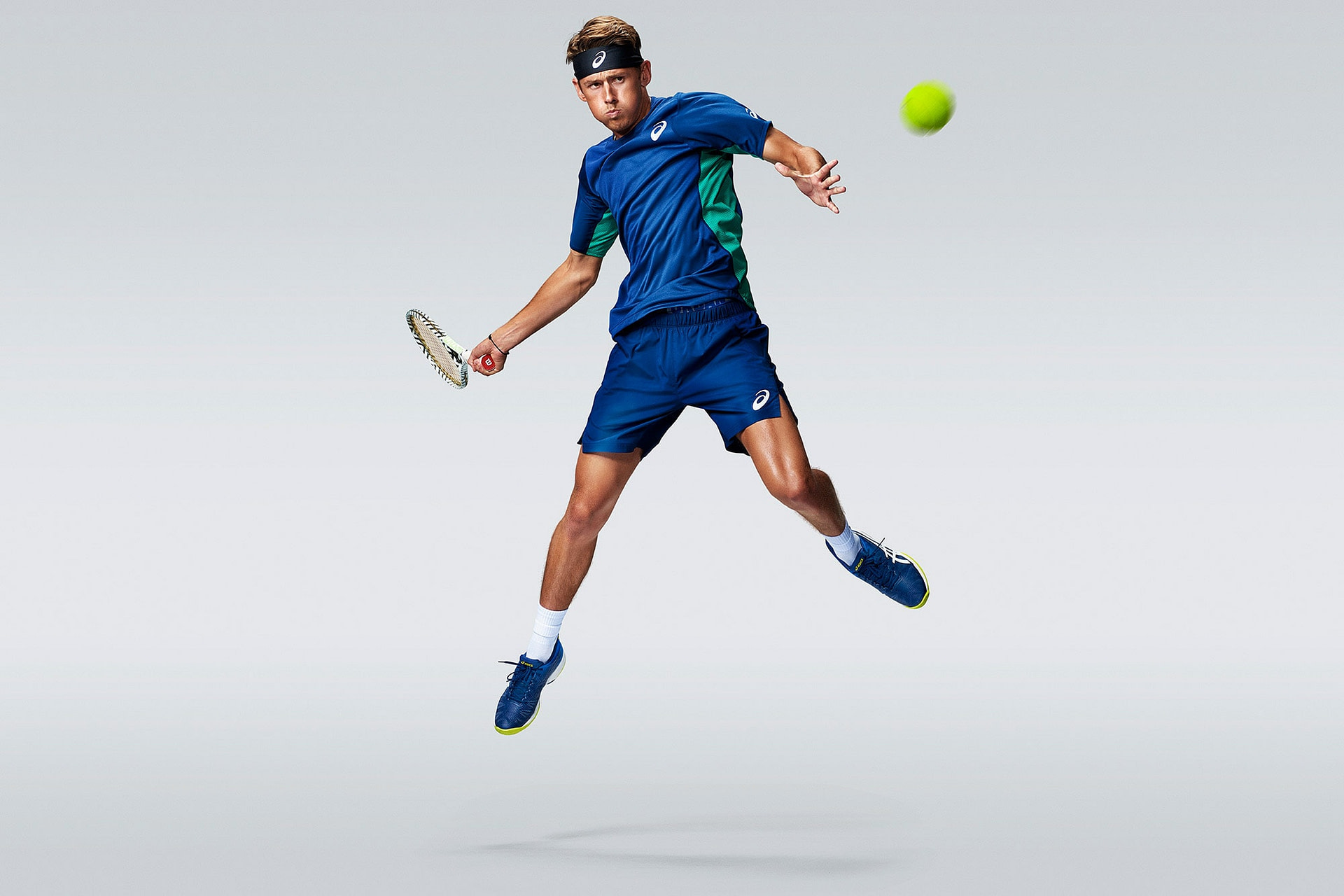 professional tennis player Alex de minaur wearing asics solution speed shoe for 2020 gloabal product launch shot in studio in Japan by Smith and Daniels