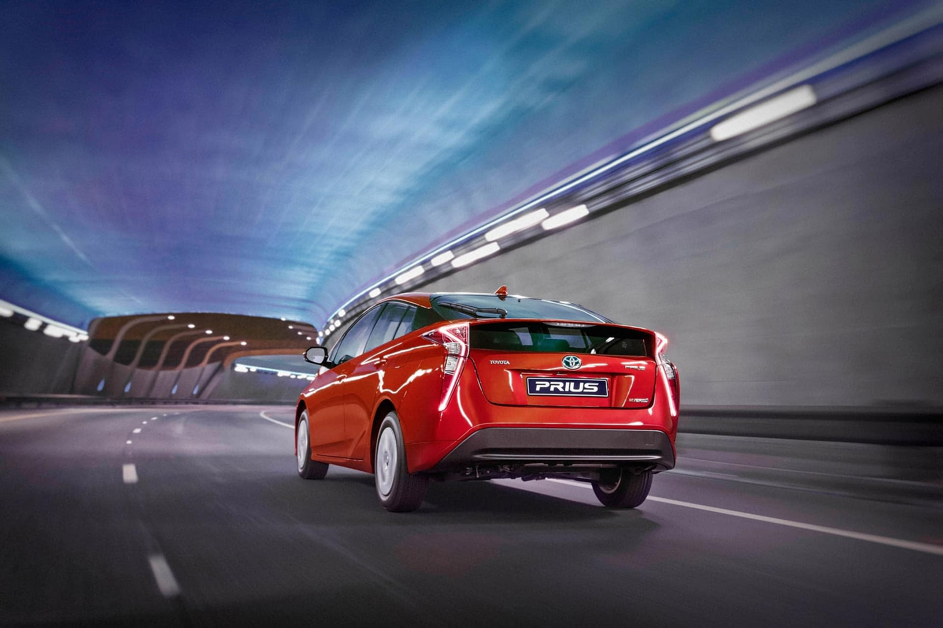 latest toyota prius driving through a coloured tunnel photographed for toyota south africa