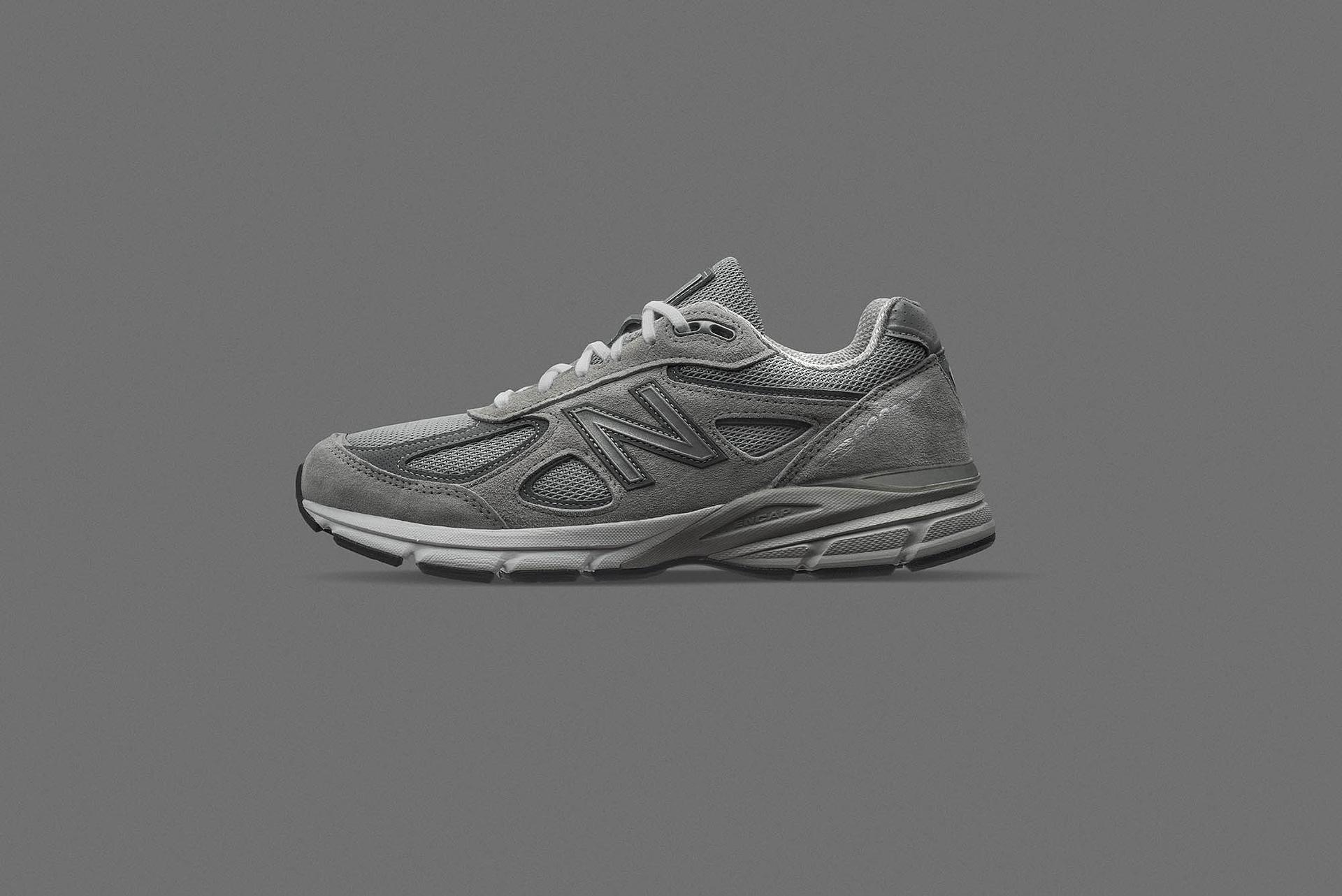 new balance 990v4 lifestyle running shoe photographed on a grey background