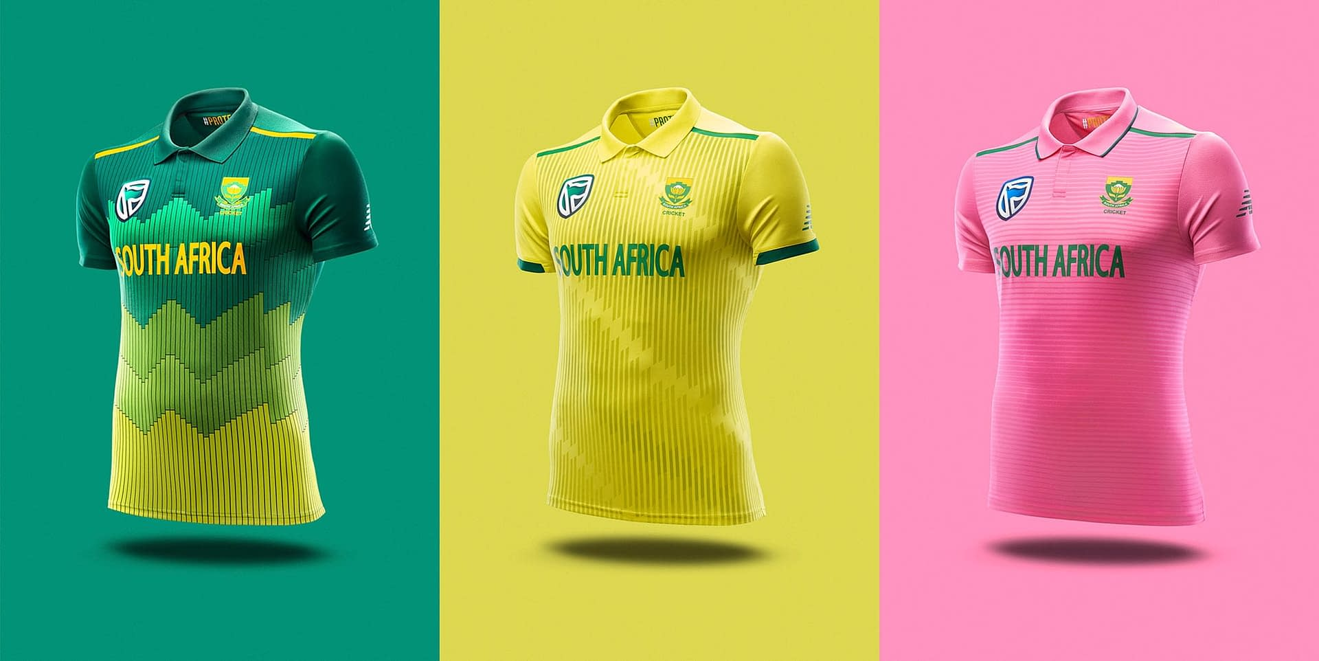 south african mens cricket Jersey photographed for new balance south africa in studio
