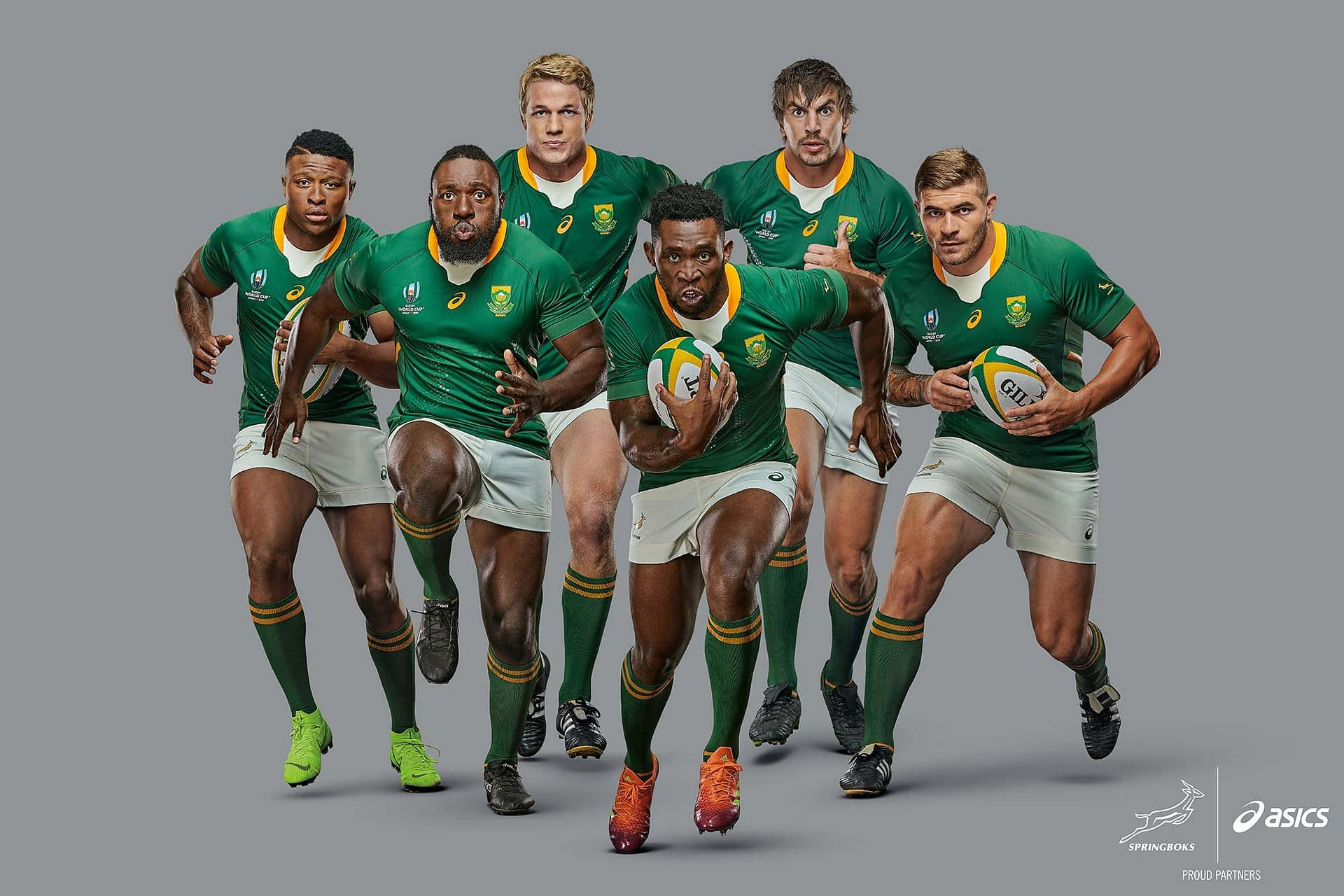 world cup rugby champions south Africa photographed in studio for new asics print campaign
