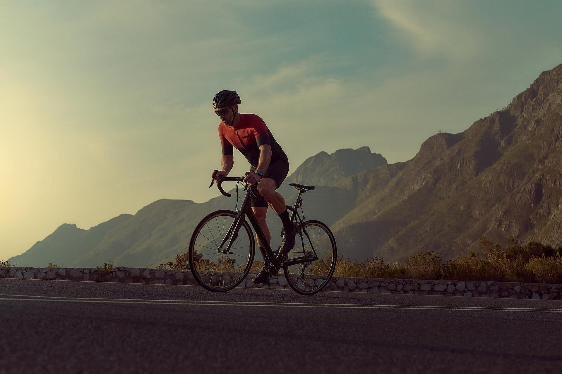 active sportswear brand tissot photographed in cape town late evening with cyclist using only natural lighting